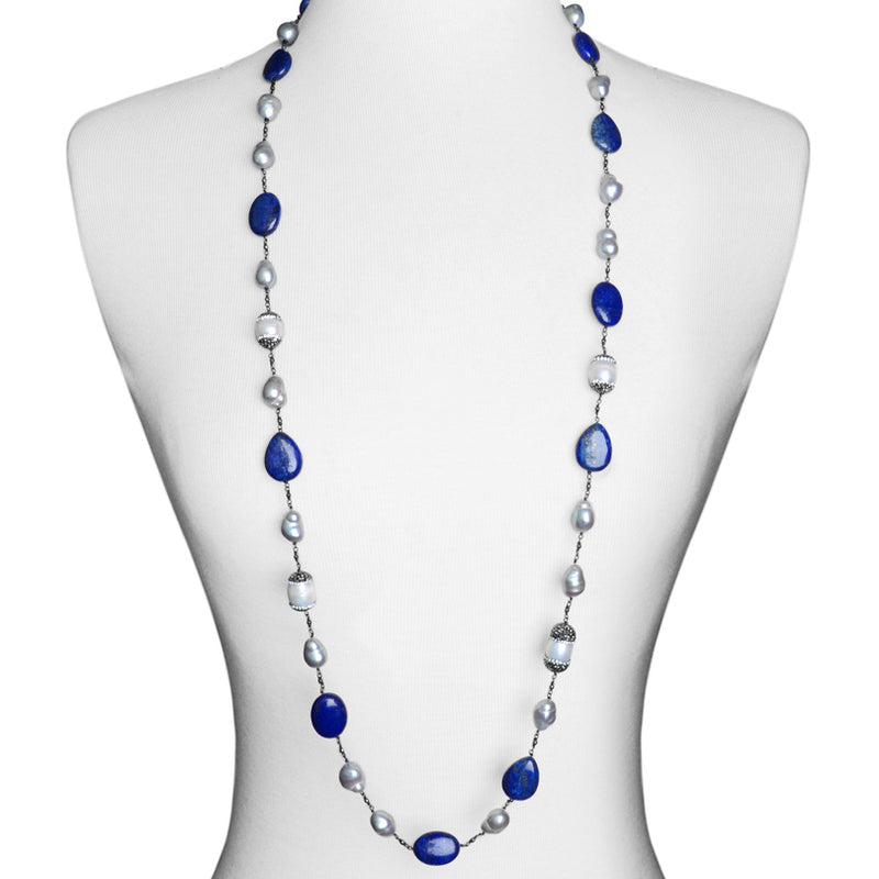 Stylish Lapis & Pearl with Hematite and Crystal Accents Necklace -44