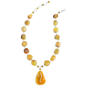 "Sunny Yellow Agate Sterling Silver Statement Necklace 19"" - 21"""
