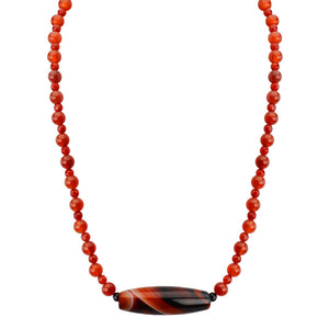 "Gorgeous Striped Agate with Vibrant Orange Carnelian Beaded Neckline Sterling Silver Necklace 17"" - 19"""