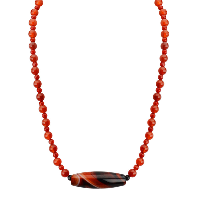 Gorgeous Striped Agate with Vibrant Orange Carnelian Beaded Neckline Sterling Silver Necklace 17