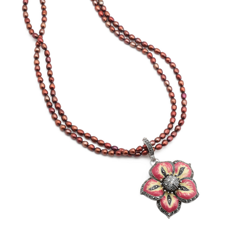 Simply Beautiful Marcasite Trimmed Flower on Ruby Pearls Neckline Sterling Silver Necklace 16