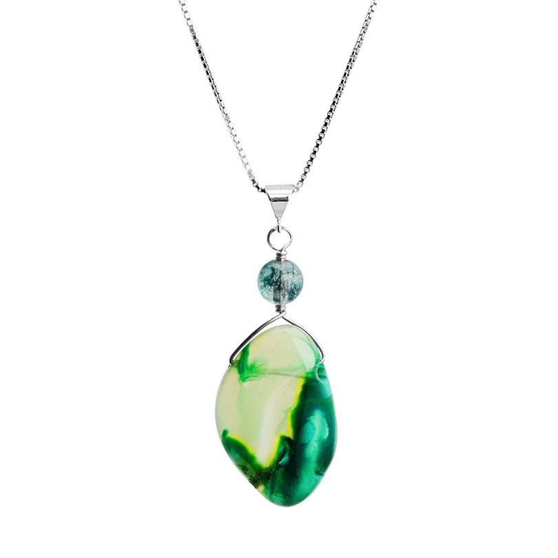 Gorgeous Natural Green Agate Sterling Silver Necklace