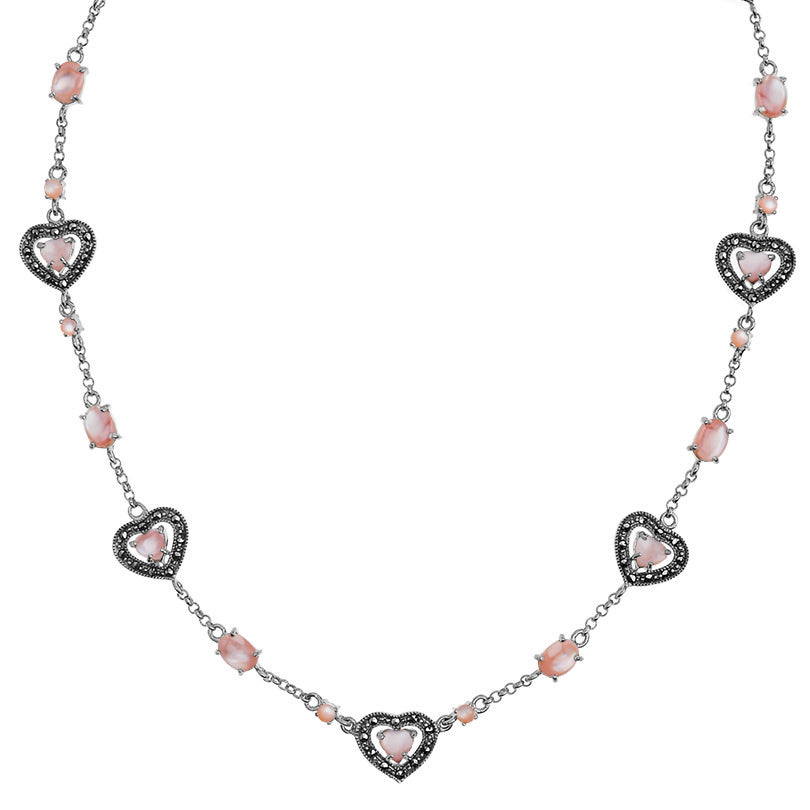 Darling Hearts Pink Mother of Pearl and Marcasite Sterling Silver Necklace