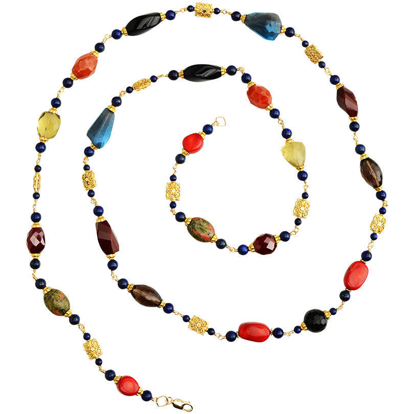 Sophisticated Lady Mixed Stones Necklace with Vermeil Accents 34""