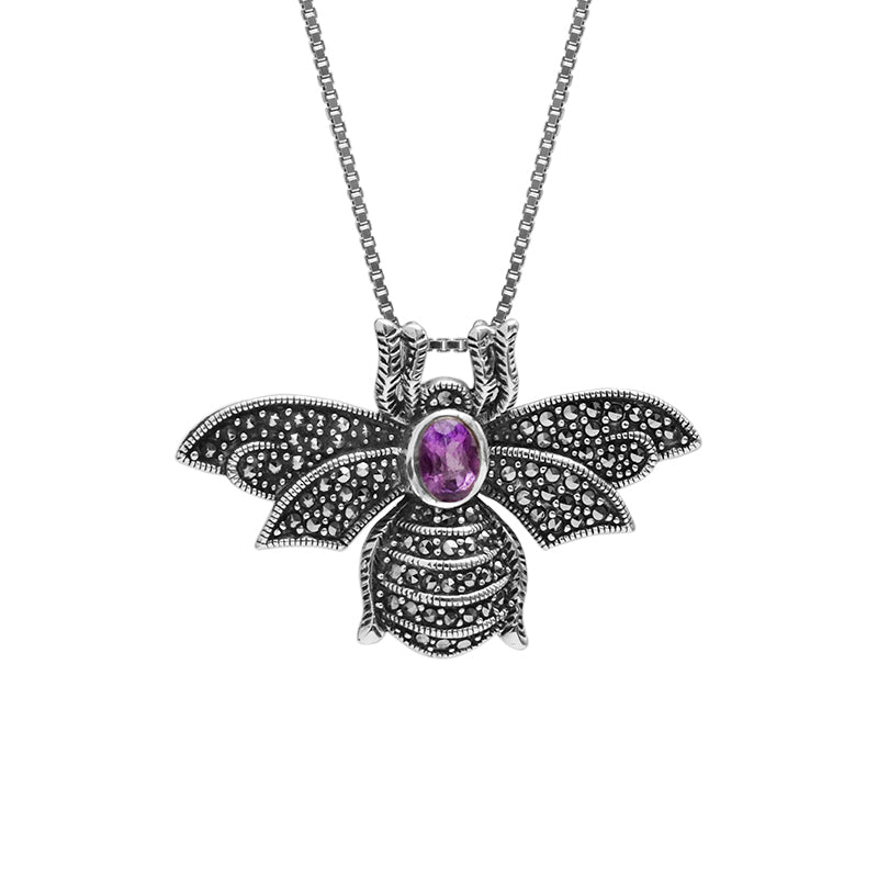 Amethyst and Marcasite Bumblebee Sterling Silver Necklace