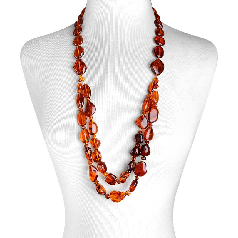 Polish Designer Long Gorgeous Cognac Baltic Amber Statement Necklace 32""