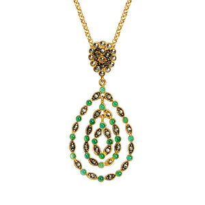 Versatile Emerald Green Agate and Marcasite Gold Plated Vintage Teardrop Design Necklace
