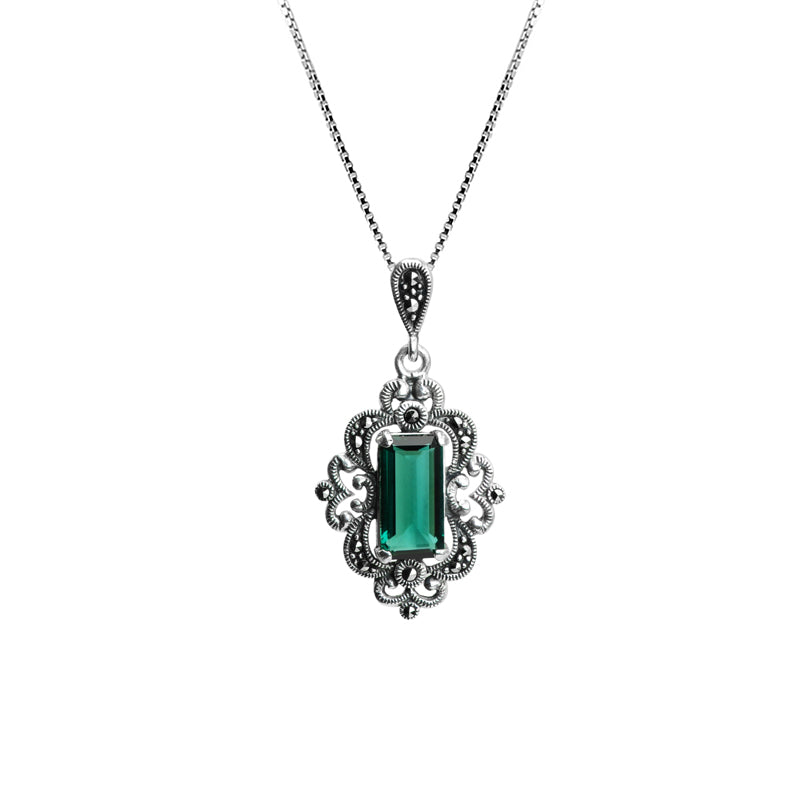 "Gorgeous Faceted Siberian Emerald Green Quartz and Marcasite Sterling Silver Necklace 16"" - 18"""