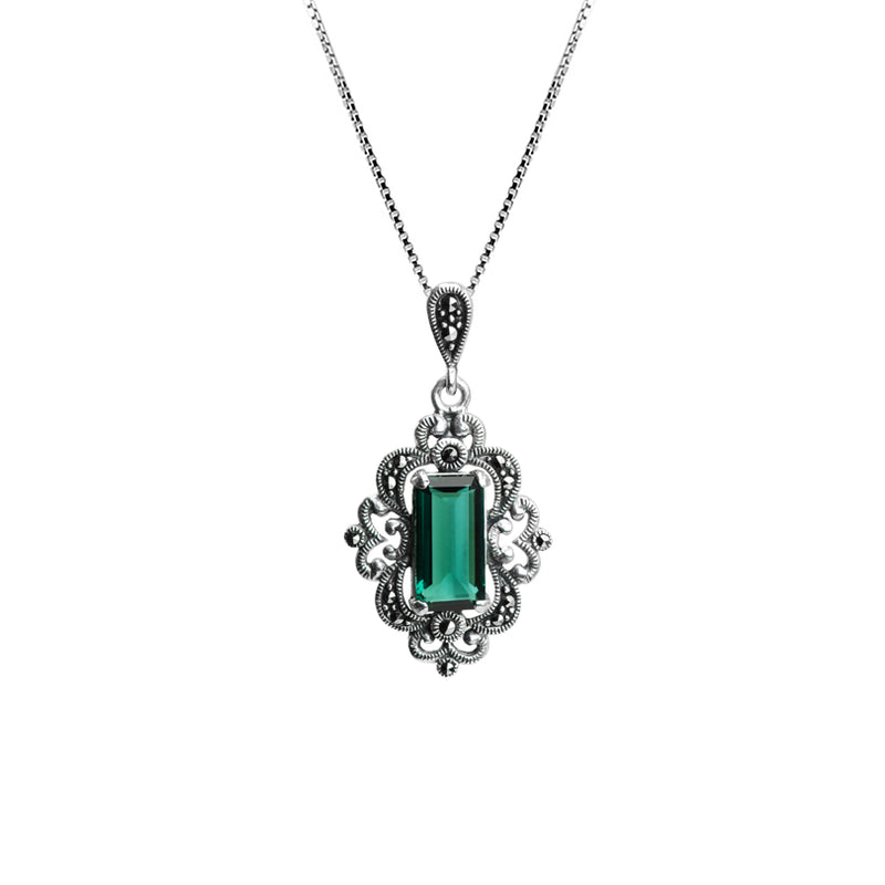 Gorgeous Faceted Siberian Emerald Green Quartz and Marcasite Sterling Silver Necklace