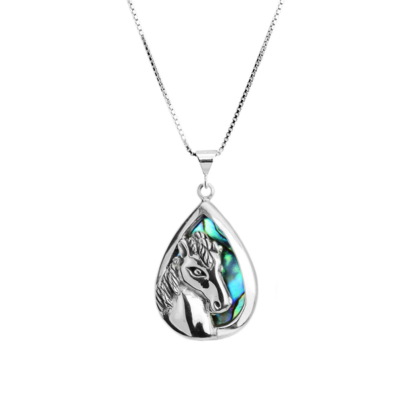 Petite Silver Horse on Abalone Background on Rhodium Plated Sterling Silver Necklace