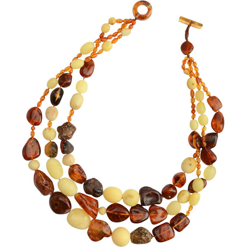 Gorgeous Polish Designer 3 Layers of  Mixed Amber and Copal Stones Statement Necklace
