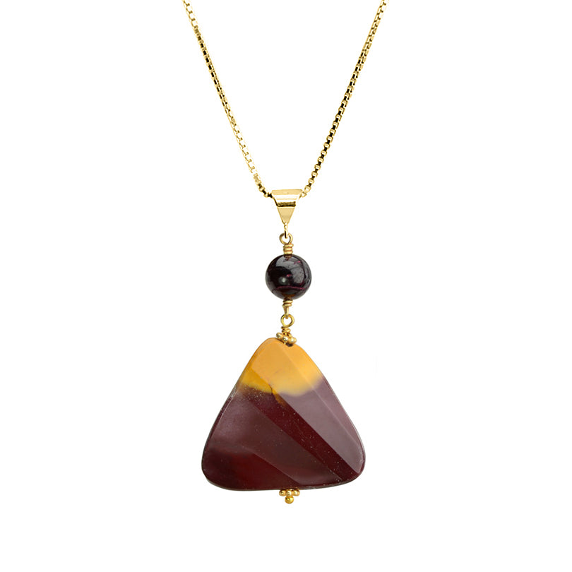 "Natural Red and Yellow Blend of Moukaite Jasper and Garnet Vermeil Necklace 16"" - 18"""
