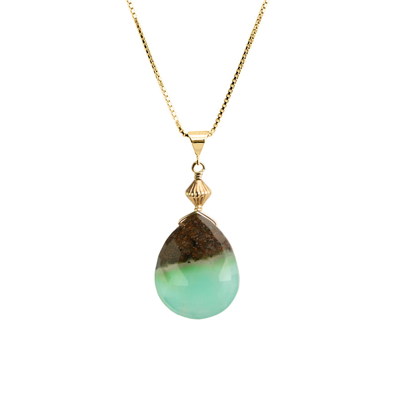 Natural Beautiful Chrysoprase 18kt Golf Plated Silver Necklace