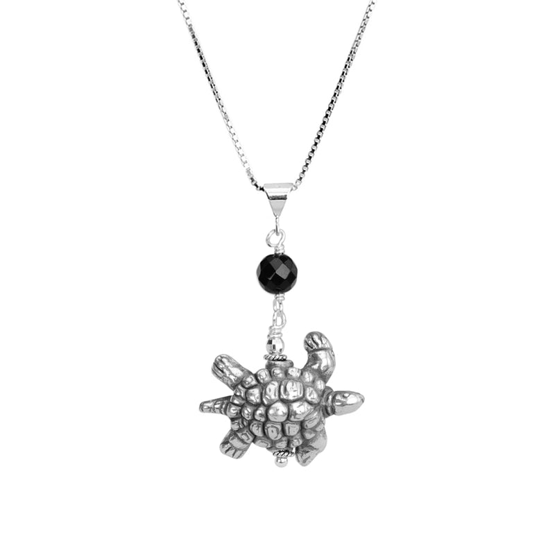 Onyx Turtle on Italian Rhodium Plated Sterling Silver Necklace