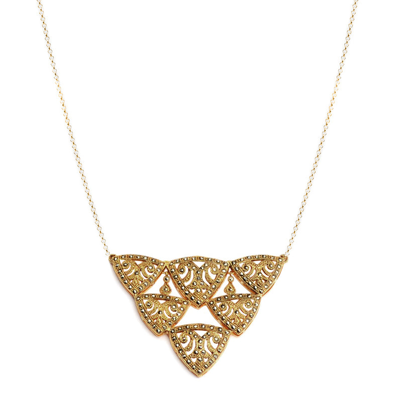 Beautiful Art Deco Style 14k Gold Plated Marcasite Necklace