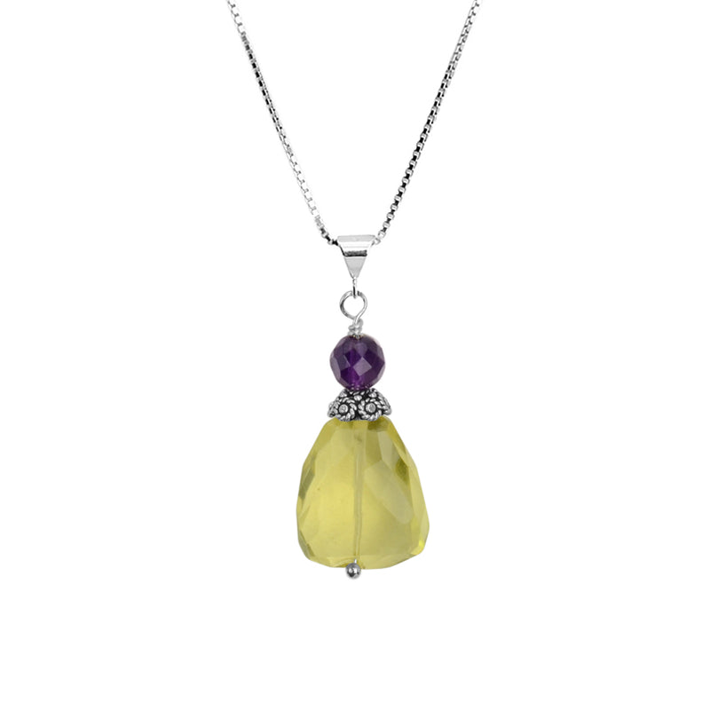 Lemon Quartz and Amethyst Sterling Silver Necklace 18