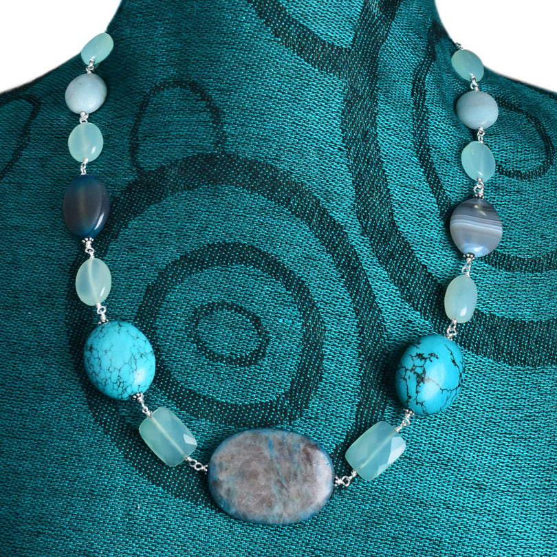 Stunning Blue Stone Sterling Silver Necklace