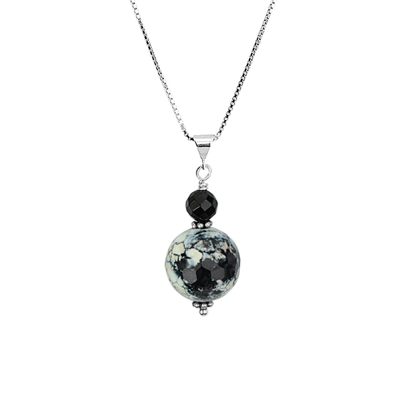 Faceted Agate and Black Onyx Sterling Silver Necklace