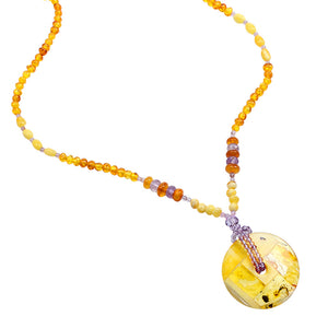 Exquisite Mixed Baltic Amber Necklace wth Lavender Amethyst Accents .  Only One!