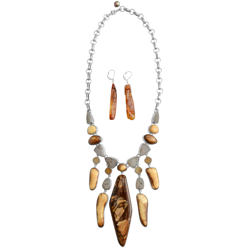 Desert Jasper, Fossilized Wood Natural Drusy Sterling Silver Statement Necklace With Agate Earrings
