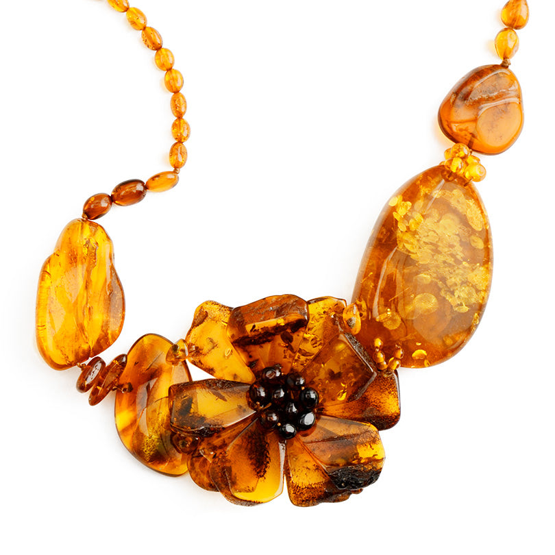 "Polish Designer Gorgeous Large Stones of Baltic Amber Flower Necklace 18 1/2""-one of a kind!"