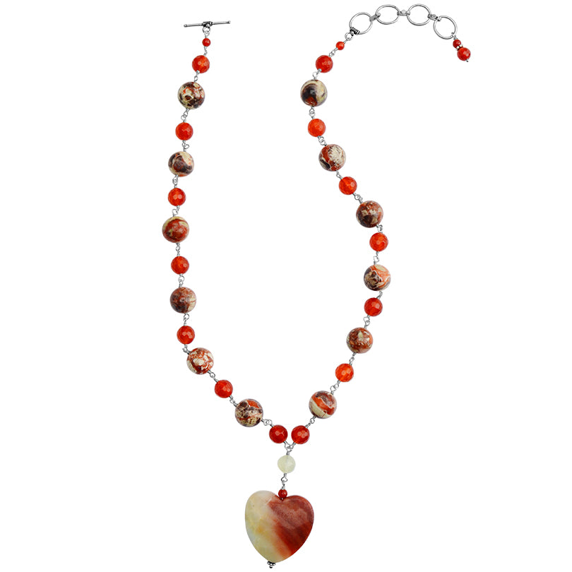 "Peruvian Opal Heart with Jasper & Carnelian Neckline Sterling Silver Necklace 17"" - 19"""