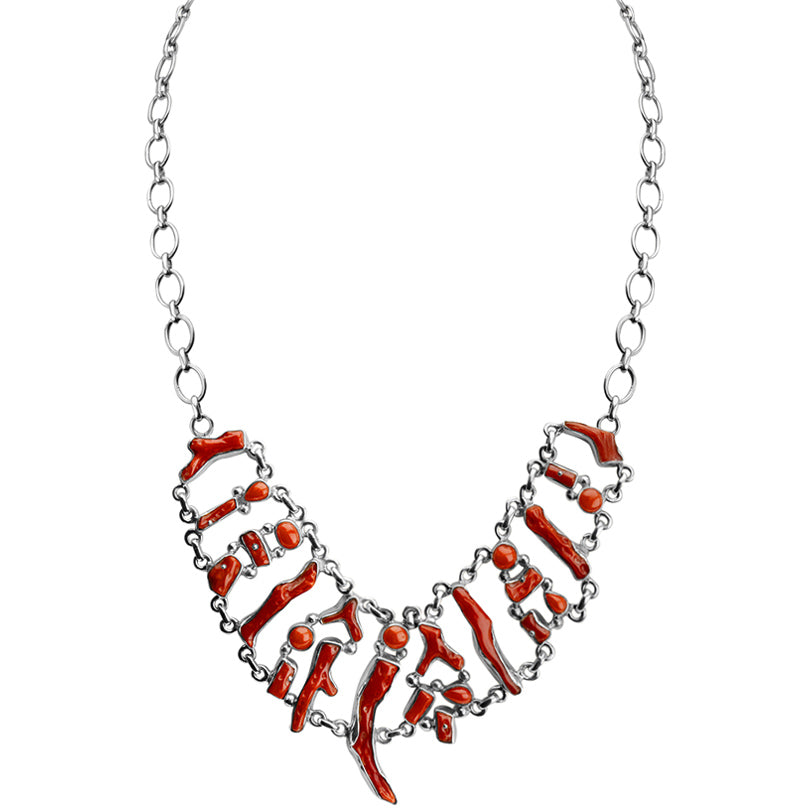 Whimsical Coral Sterling Silver Statement Necklace- adjustable