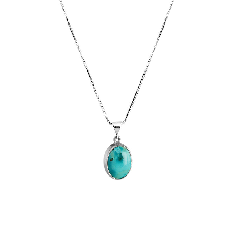 Beautiful Creamy Blue Natural Petite Stone Turquoise Sterling Silver Necklace