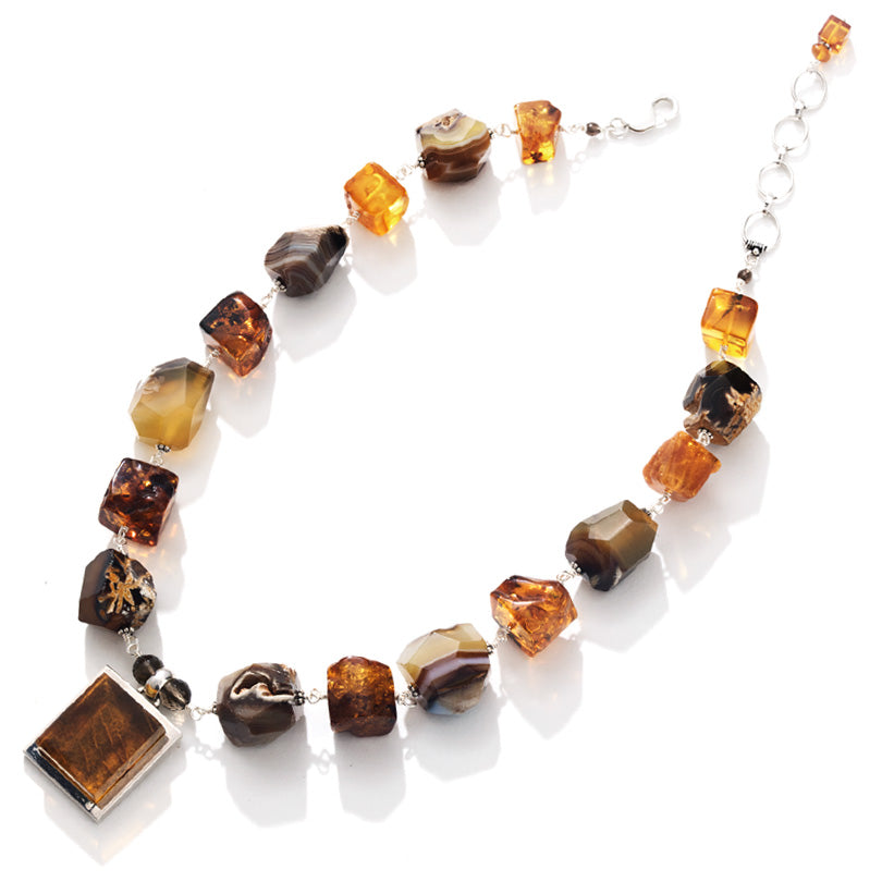 Designer Baltic Amber & Stone Sterling Silver Statement Necklace