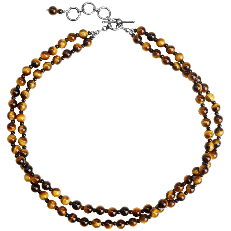 Shimmering Tigers Eye Double Strand Beaded Sterling Silver Toggle Necklace