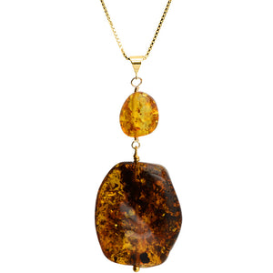 "Large Cognac Baltic Amber Stone Vermeil Necklace 16"" - 18"""