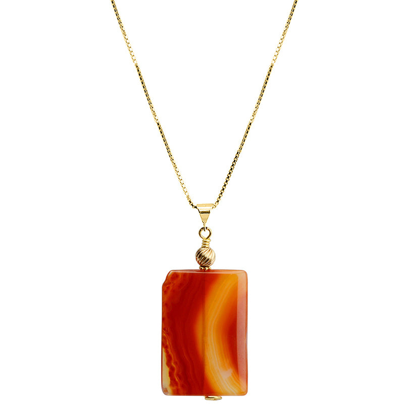 Bright and Vibrant Carnelian Italian Gold Plated Silver Necklace