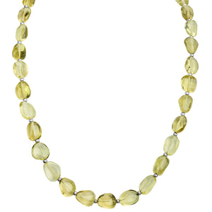 "Smooth Small Stones of Lemon Quartz Sterling Silver Necklace 17"" - 19"""
