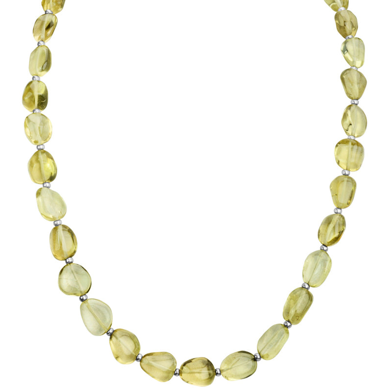 Smooth Small Stones of Lemon Quartz Sterling Silver Necklace 17