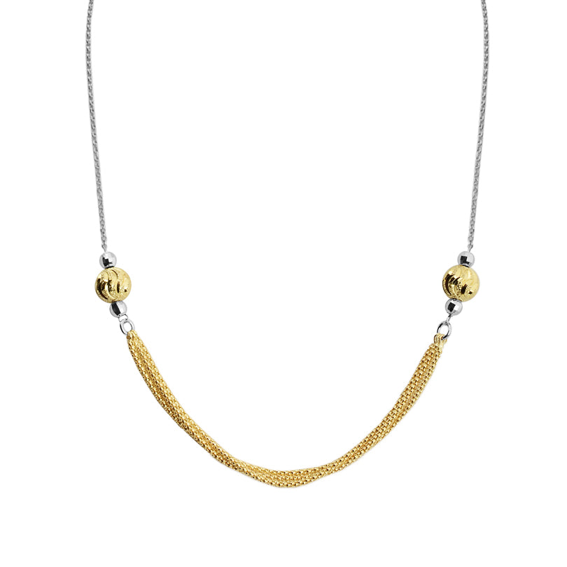 Delicate Two-Tone 18kt Gold and Rhodium Plated Italian Necklace