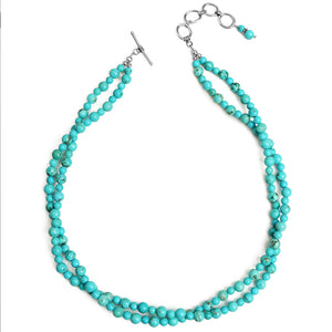 "Soft Blue Magnesite Turquoise Double Strand Sterling Silver Necklace 16"" - 18"""