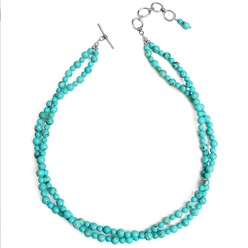 Soft Blue Magnesite Turquoise Double Strand Sterling Silver Necklace 16