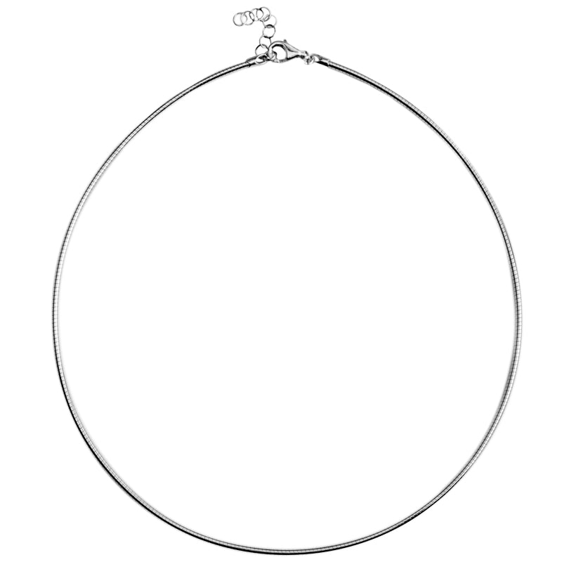 Italian Rhodium Plated Sterling Silver Soft Collar Chain Necklace