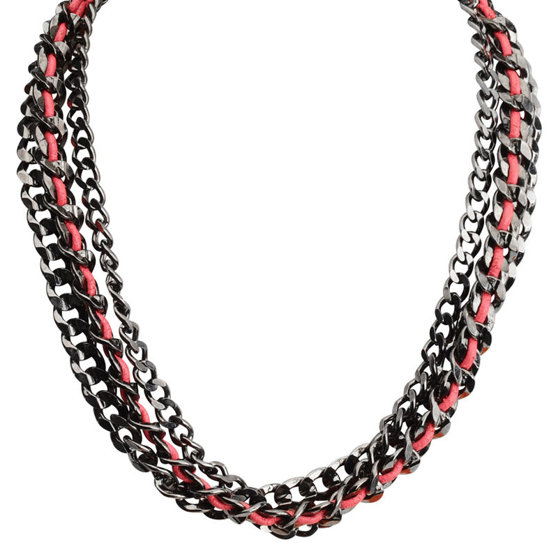 Funky Black Layered Link-Chain with Red Leather Accent Necklace 18 1/2