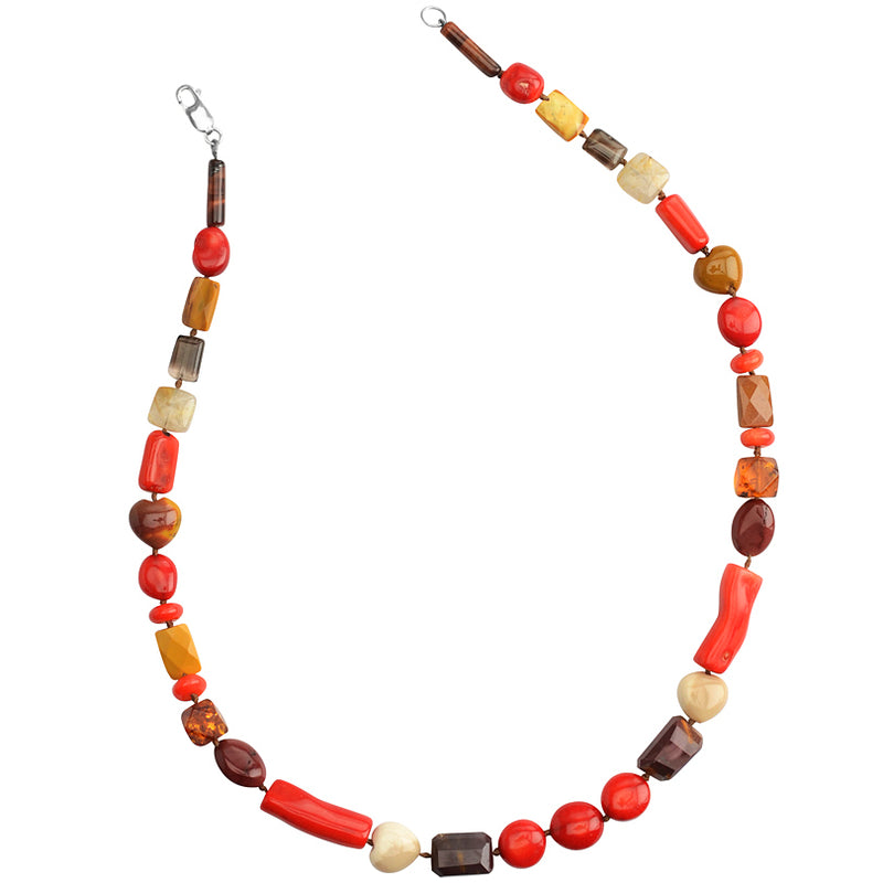 Cheerful Coral and Mixed Natural Stones Sterling Silver Necklace 18
