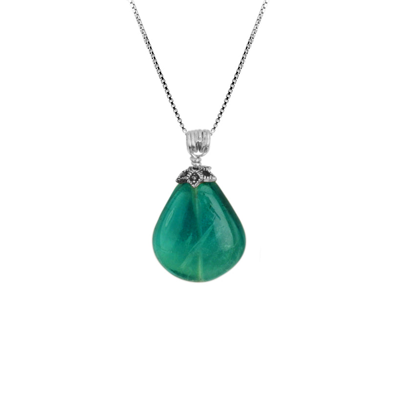 Emerald Green Fluorite Sterling Silver Necklace 18""