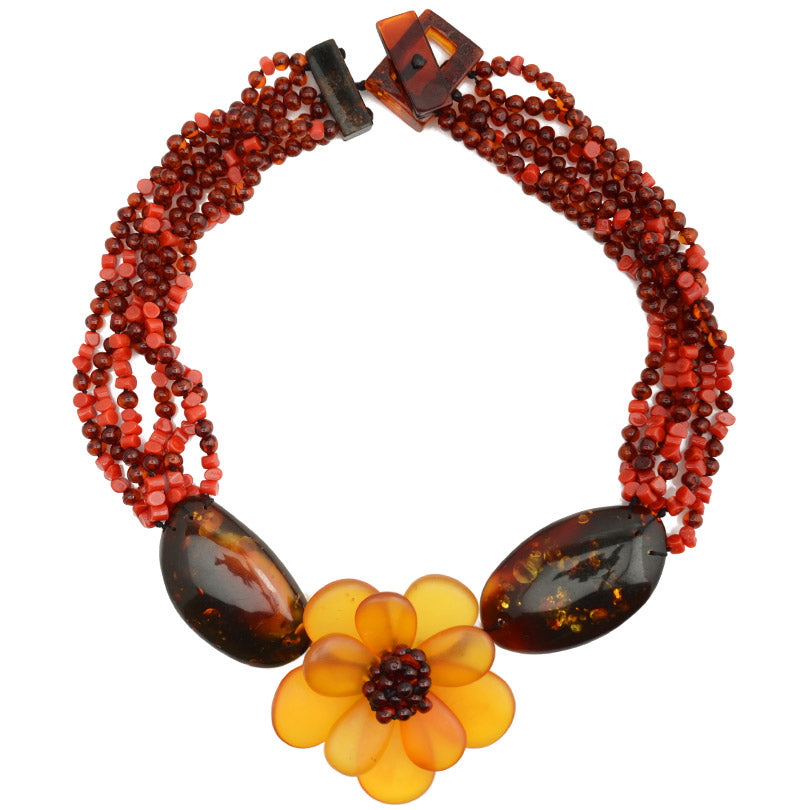Exquisite Baltic Amber with Italian Coral Statement Flower Necklace by Polish Designer