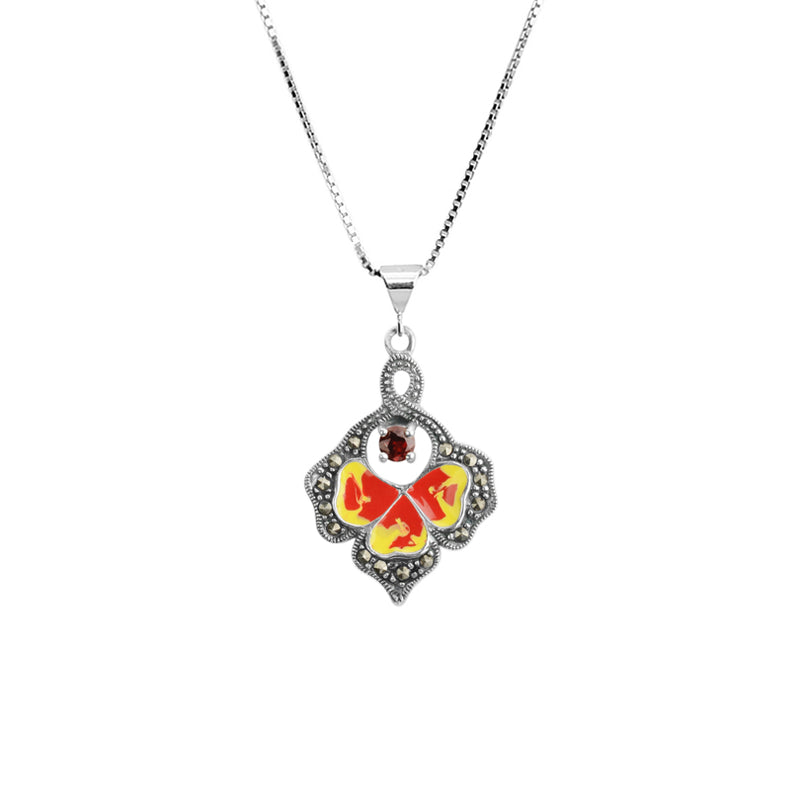 Petite Enamel Sunflower, Marcasite and Garnet Sterling Silver Flower Necklace 18