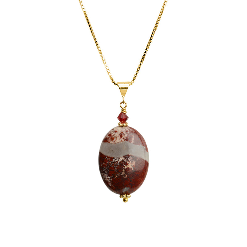 Beautiful Red Jasper and Red Crystal on Italian Gold Plated Sterling Silver Necklace