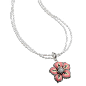 "Sparkly Pink Flower on White Pearls With Marcasite Accent Sterling Silver Necklace 16"" - 18"""