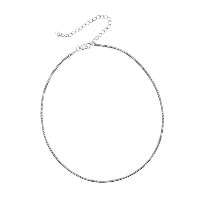 Rhodium Plated Round Snake Chain 12-15""