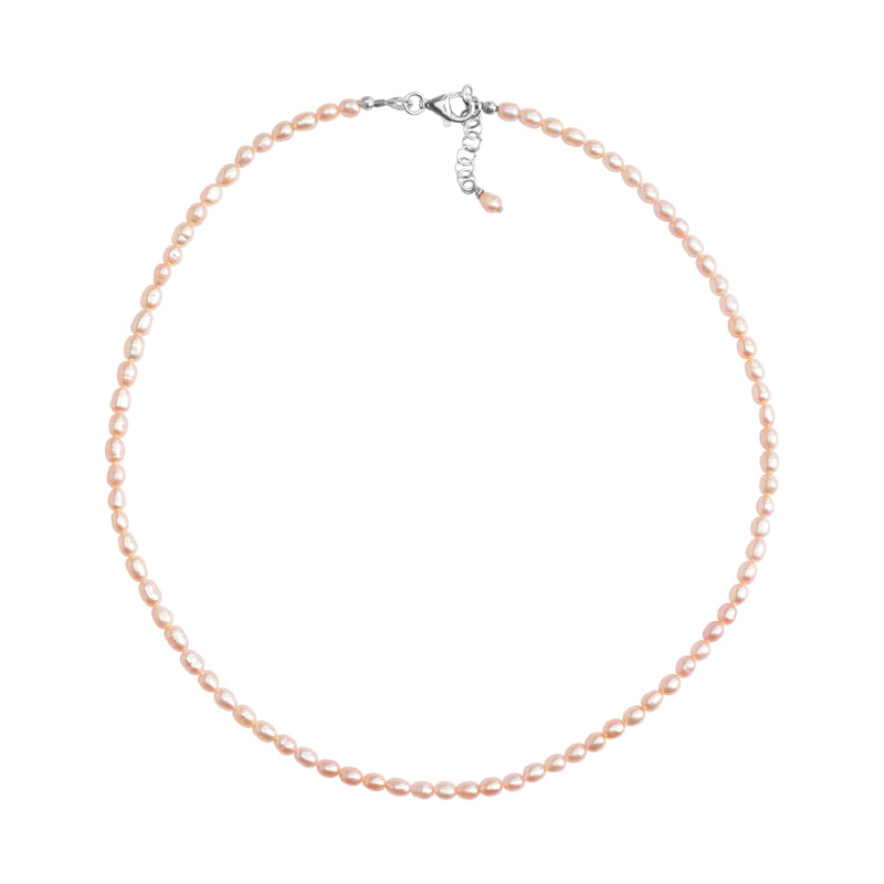 Delicate Pink Fresh Water Pearl Sterling Silver Necklace 16