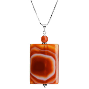 "Nature's Artwork Carnelian Stone Sterling Silver Necklace 16"" - 18"""