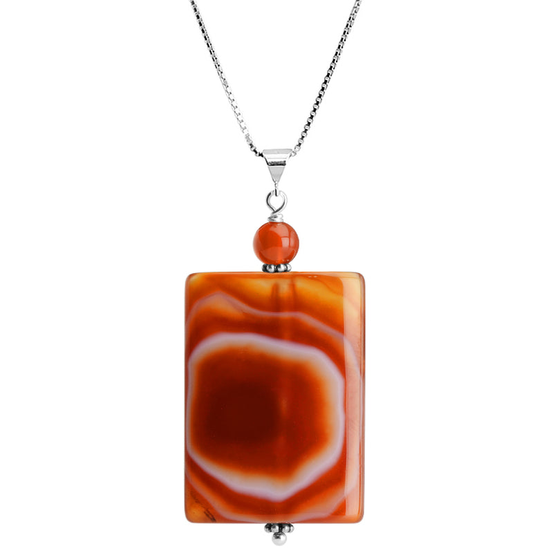 Nature's Artwork Carnelian Stone Sterling Silver Necklace 16