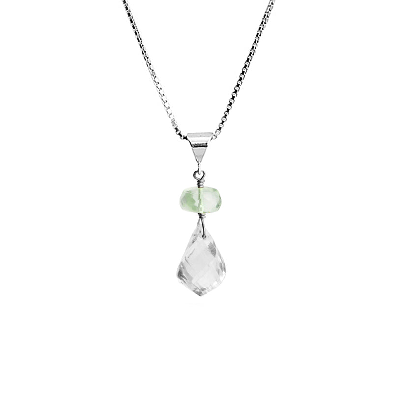 "Petite Sparkling Faceted Quartz and Green Amethyst Sterling Silver Necklace 16"" - 18"""